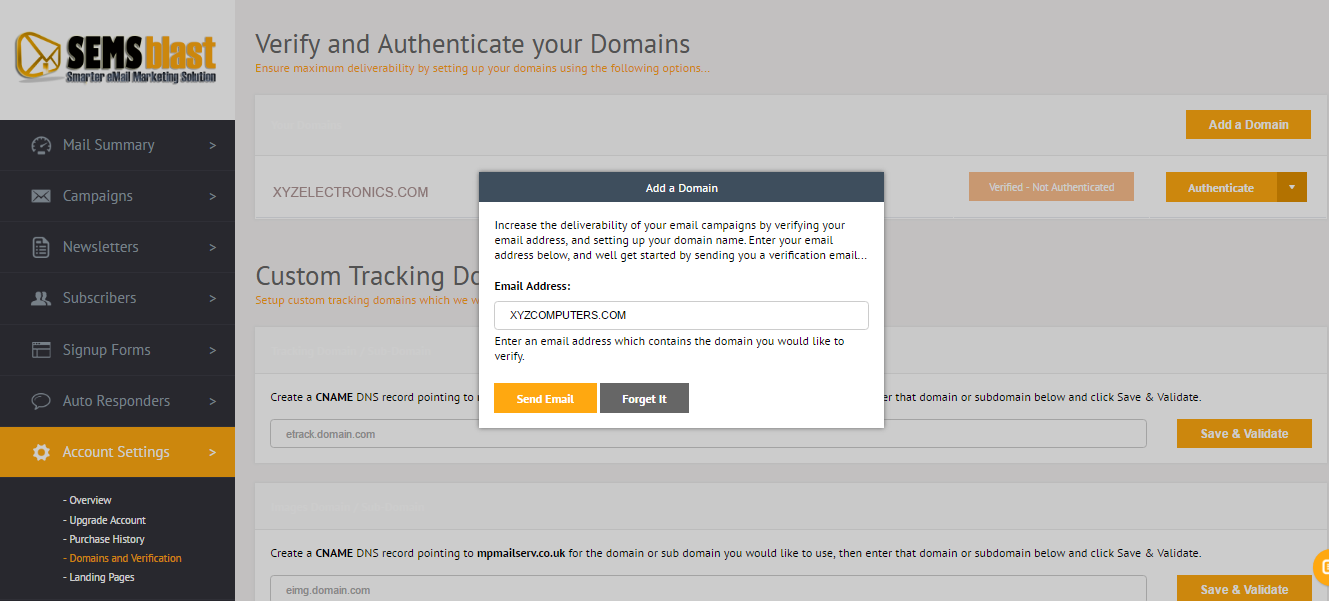 Verify and Authenticate your Domains